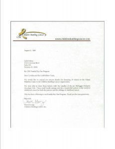 Thank You letter to GoldFellow from Children Battling Cancer for donation of Miami Dolphin's Tickets